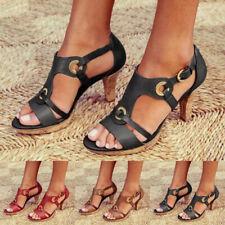 Women Gladiator Ankle Strap Sandals Ladies Summer Kitten Heels Vintage Shoes 4-8