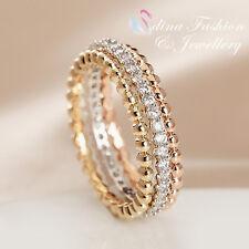 18K Yellow, Rose & White Gold Plated Simulated Diamond Stylish Triple Ring Set