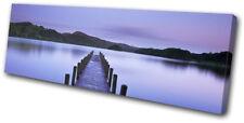Lake Jetty Sunset Seascape SINGLE TOILE murale ART Photo Print