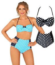 Sz 8-16 Boutique Spotty 1950s Bandeau Bikini Black White / Blue High Waisted