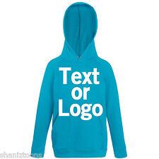 Azure Blue Kids Childrens Lightweight Hoodie Personalised Printing Text Logo