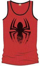 Canottiera Spider-Man red tank top black distressed logo Uomo ufficiale Marvel