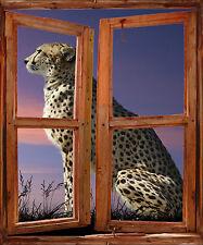 Adesivo parete finestra inganna L'occhio decocrazione Leopardo ref 763