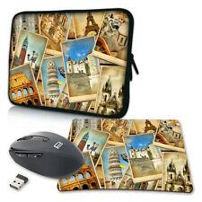 Notebook Laptop Tasche + Mauspad / Maus 10 13 15 17 Zoll Hülle, vintage travel