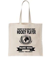 Hockey Player Personalised Tote Bag Shopper Thanks Amend Birthday Gift  Sports