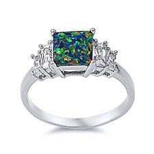 Women 8mm 925 Silver Black Opal Radiant Cut CZ Five Stone Anniversary Ring Band