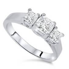 1 1/4ct Three Stone Diamond Ring 14K White Gold