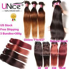 3 Bundles/300g UNice 8A Virgin Brazilian Straight Human Hair Extensions US Stock