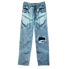 Adult 100% Cotton Faux Denim Jeans Lounge Pants With Drawstring Waist