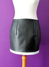 Bnwt Black faux leather sexy tight mini skirt with bottom white trim