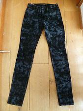 JOE'S JOES The Skinny Noir Gris Motif Velours Jeans Pantalon Taille 25 XXS UK 6