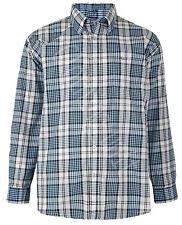 Mens KAM Big Size Poly cotton Check LONG Sleeve Shirt Soft Work Casual 2XL