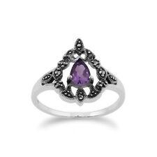 Gemondo Sterling Silver Victorian Amethyst & Marcasite Ring