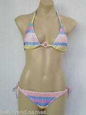 Rusty Ladies Bubble Stripe 2 Piece Bikini Swimsuit Swimwear size 12 Multi Colour