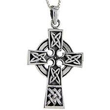 "Sterling Silver Celtic Cross Pendant, 18"" Italian Box Chain"