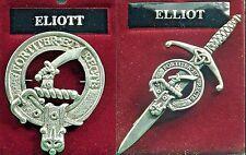 Badge or Kilt Pin Elliot Scottish Clan Crest Pewter