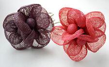 Band / Pink or Purple Flower Canvas Mesh Flower Bracelet / Silver-tone Hinge