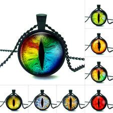 8 Style Drgon Evil Eye Photo Cabochon Glass Tibet Black Chain Pendant Necklace
