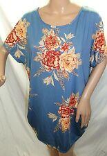 Forbidden Society Women Plus Size 1x 2x 3x Teal Mauve Floral Top Blouse Shirt