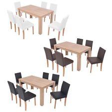 vidaXL Chêne Table et Chaises 7pcs Cuir Synthétique Mobilier Salon Multicolore