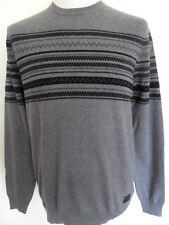 BEN SHERMAN Jumper Men's Crew Neck Aztec Knit Wool Blend Grey Size: XXL