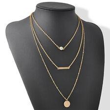 OL New Fashion 3Layer Chain Crystal Choker Chunky Statement Bib Pendant Necklace