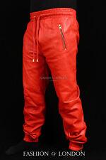 Homme Pantalon De Survêtement Rouge Peau d'Agneau Cuir De Jogging Pantalon Survêtement attirer Pantalon