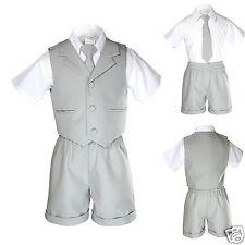 New Boy Infant & Toddler Formal Eton Lt. Gray Vest Shorts Suit S M L XL 2T 3T 4T