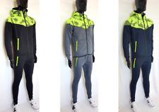 Tuta uomo con cappuccio e zip felpa + pantalone con tasche felpato sport fitnees