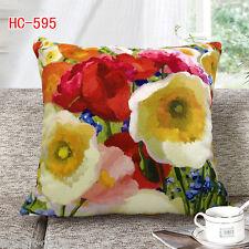 Elegant Square Velvet Pillow Cushion Cover Floral Poppy Double Sides Optional