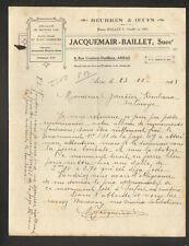 """ARRAS (62) BEURRE & OEUFS """"JACQUEMAIR - BAILLET"""" en 1933"""