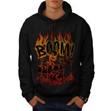 Wellcoda Skeleton Drummer Mens Hoodie, Playing Casual Hooded Sweatshirt