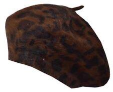 """Angela & William Leopard Angora Beret Cap Hat 10.5"""" in Diameter"""