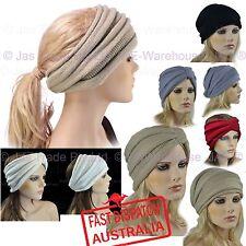 Ear Head Warmer Wrap Muff Ski Knitted Knit TURBAN Slouch Headband Reversible