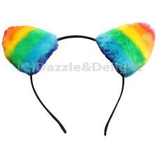 PRIDE ACCESSORIES FURRY RAINBOW CAT EARS HEADBAND LGBT CARNIVAL STRIPED GAY