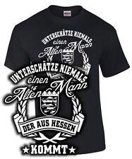 T-Shirt Hessen UNTERSCHÄTZE NIEMALS EINEN ALTEN MANN Spruch lustig Hesse