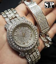 Men Hip Hop Iced Out White Gold PT Lab Diamonds WATCH & Cuban Bracelet Gift Set