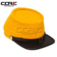 Civil War Cavalry Officers Leather Peak Kepi, Complete Yellow Plain Kepi Hat