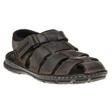 New Mens Rockport Brown Darwyn Fisherman Leather Sandals Sports Slip On