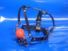GENUINE leather SILICONE 55mm BLACK BALL LOCKING BUCKLE HEAD HARNESS gag ballgag