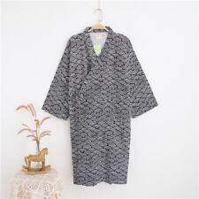 Japanese Men Kimono Yukata Cotton Bathrobe Robe Gown Nightwear Soft