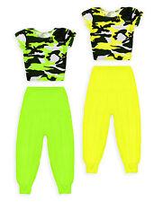 Filles fluo outfit new kids camo crop top harem pant danse set age 7-13 ans