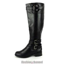 Soda Women Knee High Riding Boots Zipper Buckle Faux Leather Low Heel Shoe Doric