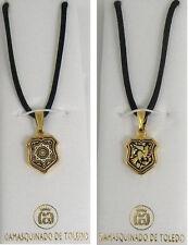 Damascene Gold Shield Shape Pendant Necklace by Midas of Toledo Spain 8201