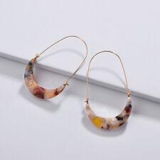 Acetate Tortoise Shell Crescent Luna Moon Drop Hoop Earrings New Fashion Jewery