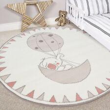 Kids Cream Pink Round Bedroom Rug Circle Elephant Baby Girls Boys Nursery Mat UK