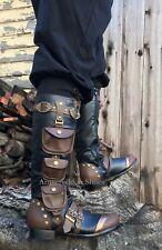 Black Steampunk Burner Wild West Burning Man Utility Pocket Mens Halloween Boots