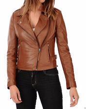 Women's Genuine Lambskin Leather Motorcycle Slim fit Biker Leather Jacket AB2