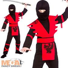 Ninja Assassin Boys Fancy Dress Japanese Martial Art Warrior Kids Childs Costume