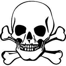 Sticker Tete de mort 15x15cm à 30x30cm, Tailles et Coloris Divers (TDM001)